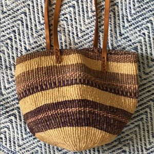 Vintage Boho Rattan purse with leather straps EUC